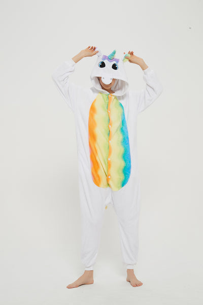 Onesie World Unisex Animal Pyjamas Cosplay - White Unicorn With Rainbow Wings Adult Onesie - Nightwear Halloween Carnival Novelty