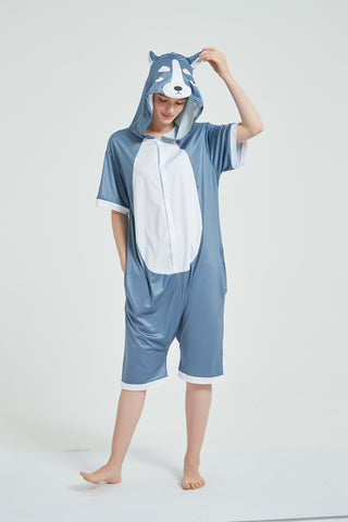 Onesie World Unisex Animal Summer Pyjamas - Grey Husky Dog Adult Summer Onesie (Book-week / Nightwear / Halloween / Pyjama Days)