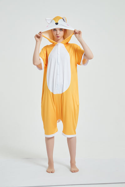 Onesie World Unisex Animal Summer Pyjamas - Fox Adult Summer Onesie (Book-week / Nightwear / Halloween / Pyjama Days)