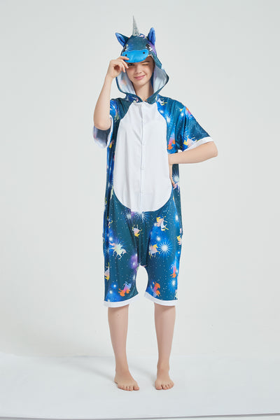 Onesie World Unisex Animal Summer Pyjamas - Dark Galaxy Unicorn Adult Summer Onesie (Book-week / Nightwear / Halloween / Pyjama Days)