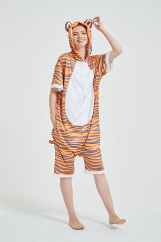 Onesie World Unisex Animal Summer Pyjamas - Tiger Adult Summer Onesie (Book-week / Nightwear / Halloween / Pyjama Days)