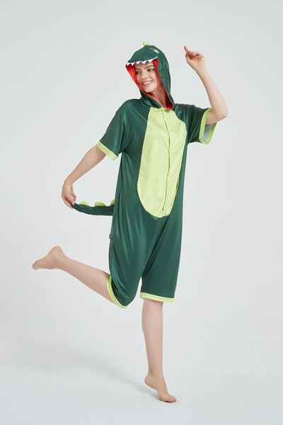 Onesie World Unisex Animal Summer Pyjamas - Green Dinosaur Adult Summer Onesie (Book-week / Nightwear / Halloween / Pyjama Days)