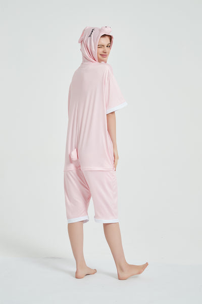 Onesie World Unisex Animal Summer Pyjamas - Pig Adult Summer Onesie (Book-week / Nightwear / Halloween / Pyjama Days)