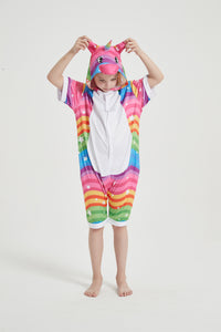 Onesie World Unisex Animal Summer Pyjamas - Rainbow Waves Unicorn Kids Summer Onesie (Book-week / Nightwear / Halloween / Pyjama Days)