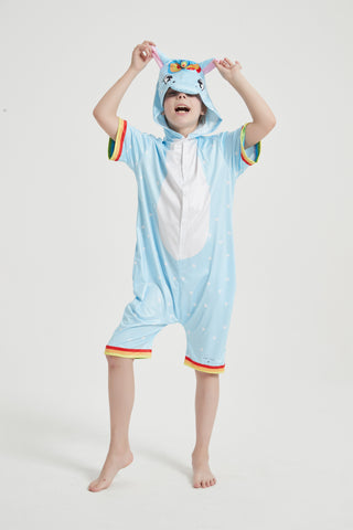 Onesie World Unisex Animal Summer Pyjamas - Blue Unicorn Kids Summer Onesie (Book-week / Nightwear / Halloween / Pyjama Days)