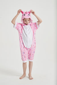 Onesie World Unisex Animal Summer Pyjamas - Pink Star Unicorn Kids Summer Onesie (Book-week / Nightwear / Halloween / Pyjama Days)
