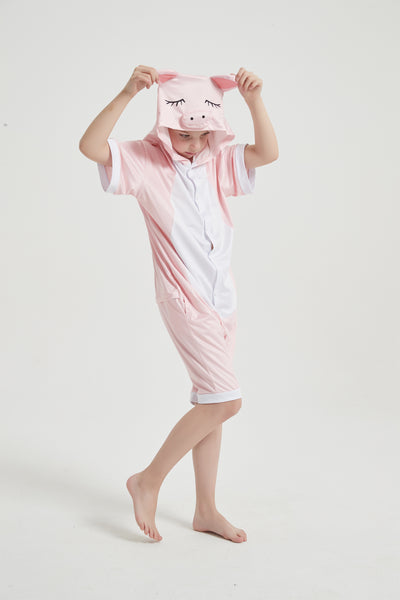 Onesie World Unisex Animal Summer Pyjamas - Pig Kids Summer Onesie (Book-week / Nightwear / Halloween / Pyjama Days)