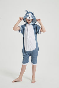 Onesie World Unisex Animal Summer Pyjamas - Grey Husky Dog Kids Summer Onesie (Book-week / Nightwear / Halloween / Pyjama Days)