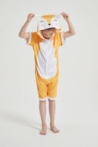 Onesie World Unisex Animal Summer Pyjamas - Fox Kids Summer Onesie (Book-week / Nightwear / Halloween / Pyjama Days)