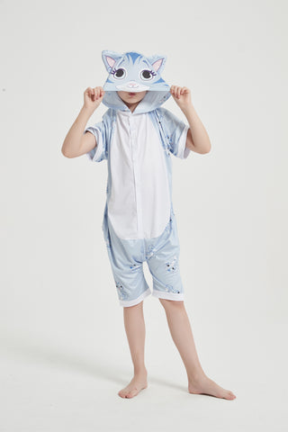 Onesie World Unisex Animal Summer Pyjamas - Cat Kids Summer Onesie (Book-week / Nightwear / Halloween / Pyjama Days)