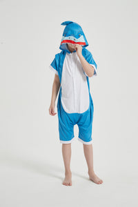 Onesie World Unisex Animal Summer Pyjamas - Shark Kids Summer Onesie (Book-week / Nightwear / Halloween / Pyjama Days)