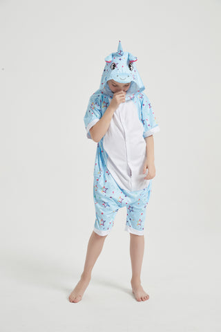 Onesie World Unisex Animal Summer Pyjamas - Blue Star Unicorn Kids Summer Onesie (Book-week / Nightwear / Halloween / Pyjama Days)