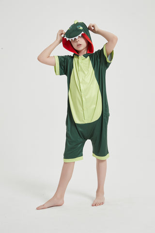 Onesie World Unisex Animal Summer Pyjamas - Green Dinosaur Kids Summer Onesie (Book-week / Nightwear / Halloween / Pyjama Days)