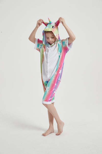 Onesie World Unisex Animal Summer Pyjamas - Rainbow Stripes Unicorn Kids Summer Onesie (Book-week / Nightwear / Halloween / Pyjama Days)