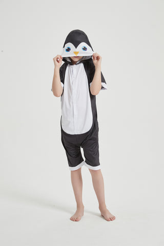 Onesie World Unisex Animal Summer Pyjamas - Penguin Kids Summer Onesie (Book-week / Nightwear / Halloween / Pyjama Days)