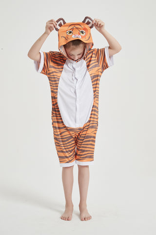 Onesie World Unisex Animal Summer Pyjamas - Tiger Kids Summer Onesie (Book-week / Nightwear / Halloween / Pyjama Days)