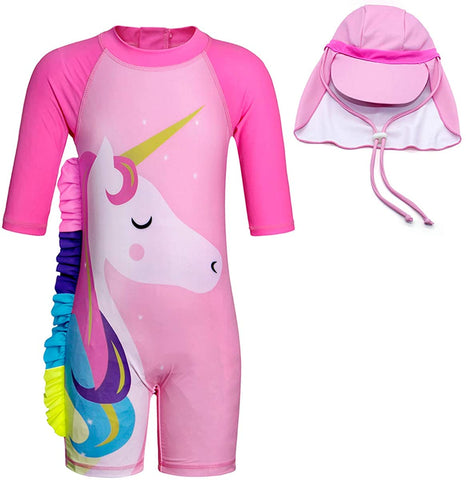 Set of Pink Unicorn One-Piece Long-sleeve Swimsuit and Hat