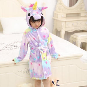 Onesie World Rainbow Star Unicorn Kids Bathrobe
