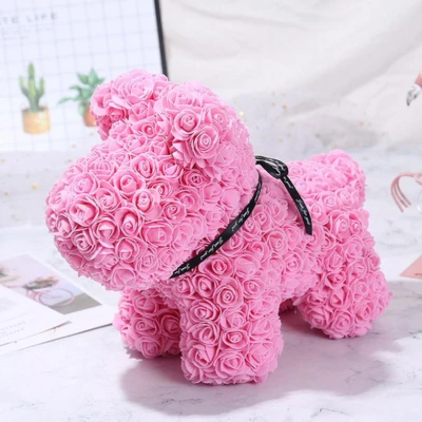 Gorgeous Pink Rose Puppy with LED Light and Gift Box - 40cm