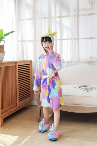 Onesie World - Rainbow Circles Unicorn Kids Bathrobe