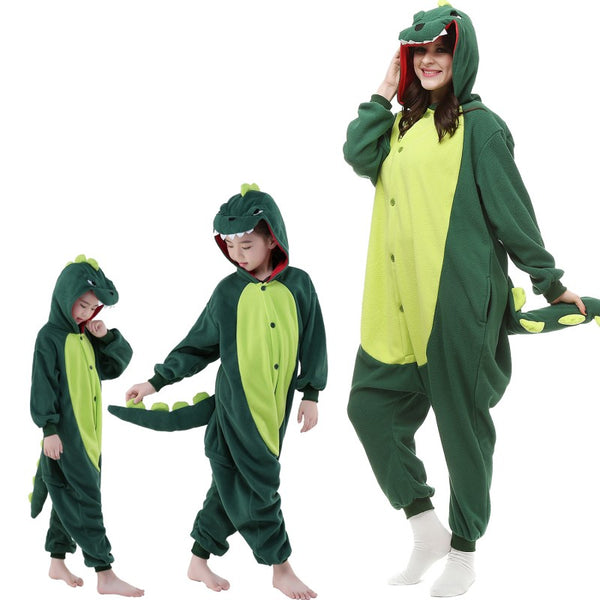 Onesie World Unisex Animal Pyjamas - Green Dinosaur Kids Onesie (Cosplay / Nightwear / Halloween / Carnival / Novelty Costume)