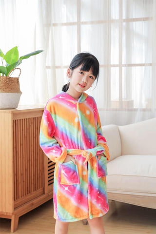 Onesie World - Golden Rainbow Unicorn Kids Bathrobe