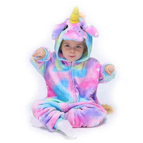 Onesie World Unisex Animal Pyjamas - Rainbow Unicorn with Sparkling Stars Baby Onesie (Cosplay / Nightwear / Halloween / Carnival / Novelty Costume)