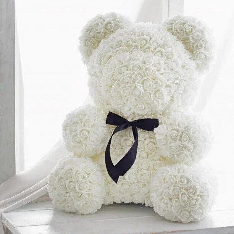 Gorgeous White Rose Teddy Bear with LED Light and Gift Box - 40cm
