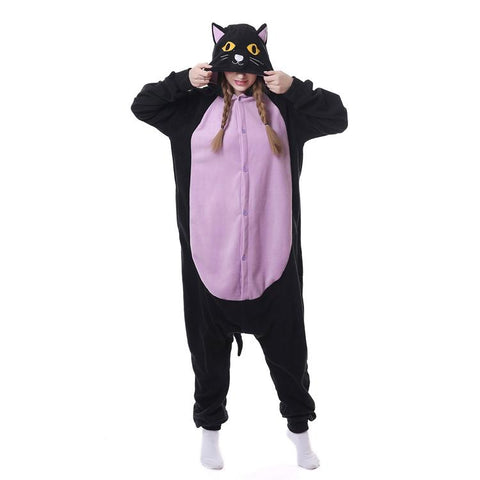 Onesie World Unisex Animal Pyjamas - Spooky Black Cat Adult (Cosplay / Nightwear Halloween Carnival