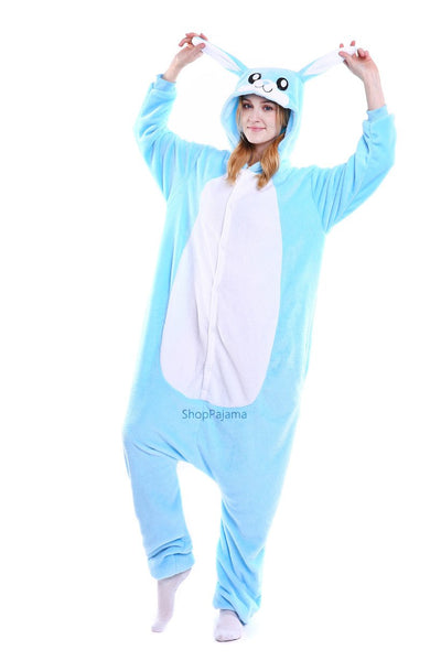 Onesie World Unisex Animal Pyjamas - Blue Bunny Adult (Cosplay / Nightwear Halloween Carnival