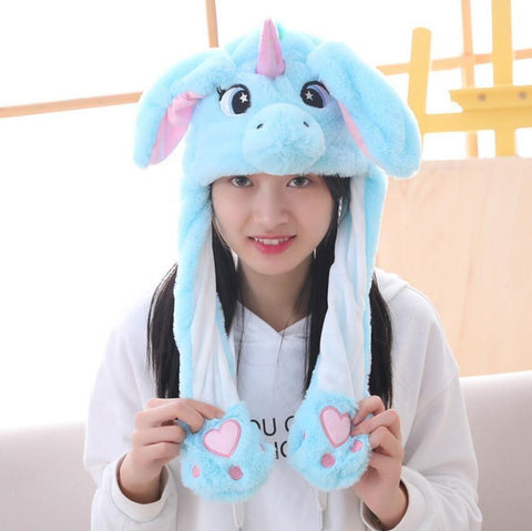 Cute Movable / Jumping Dancing - Ear Blue Unicorn Funny Hat With Led Light Animal Hats