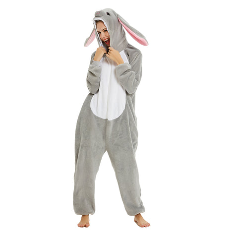 Onesie World Unisex Animal Pyjamas - Big-Ear Grey Bunny Adult Onesie (Cosplay / Nightwear / Halloween / Carnival / Novelty Costume)