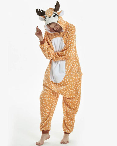Onesie World Unisex Animal Pyjamas - Deer Adult (Cosplay / Nightwear Halloween Carnival Novelty