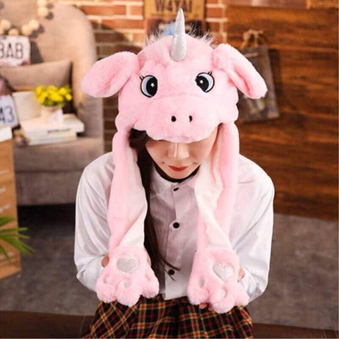 Cute Movable / Jumping Dancing - Ear Pink Unicorn Funny Hat With Led Light Animal Hats