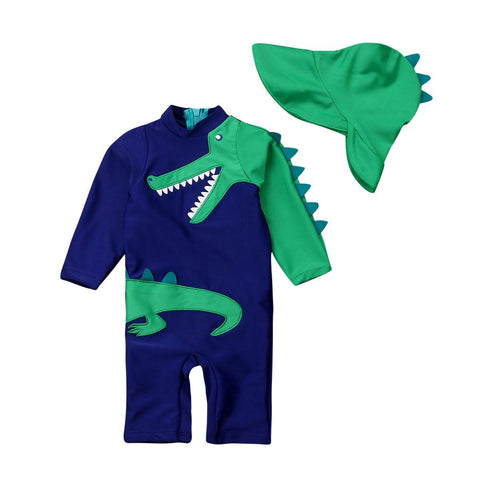 Set of Dinosaur One-Piece Long-sleeve Swimsuit and Hat