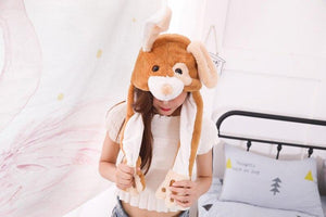 Cute Movable / Jumping Dancing - Ear Brown Puppy Funny Hat With Led Light Animal Hats