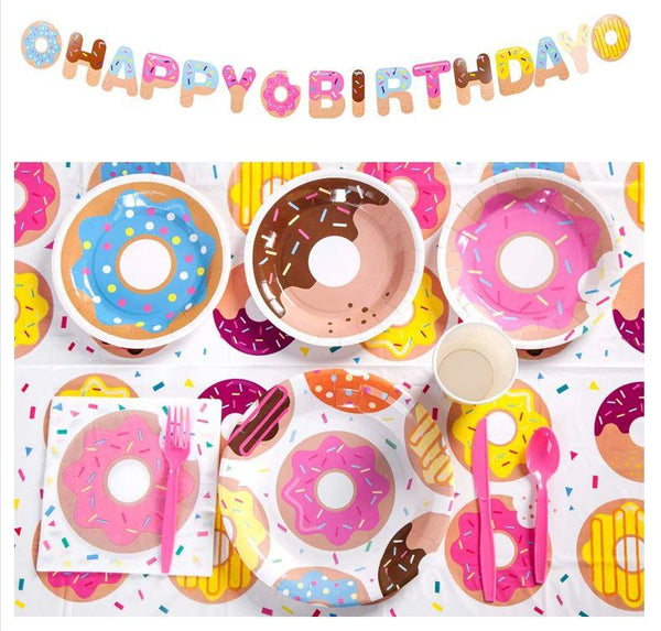 Donut Theme Birthday Party Tableware Package (#Type A)