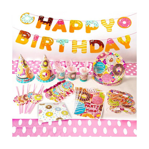 Donut Theme Birthday Party Tableware Package (#Type B)