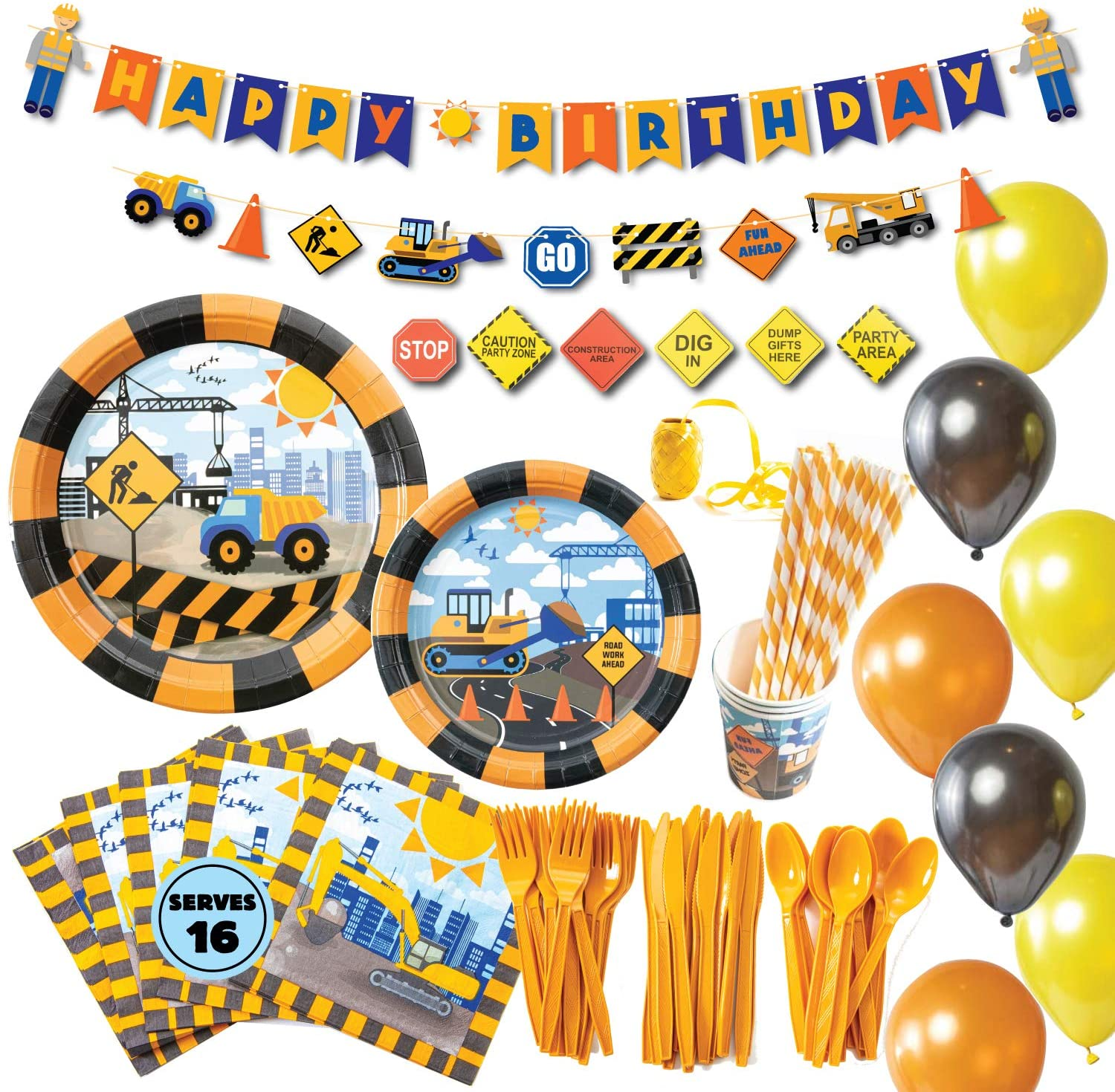 Dump Truck Theme Birthday Party Supplies Basic Package