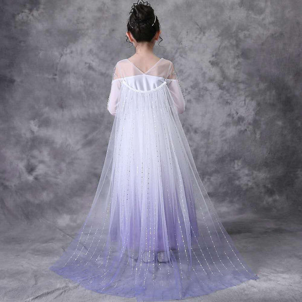 White-Purple Party Costume Princess Dress With Cape