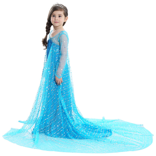 Blue Party Costume Princess Dress With Cape
