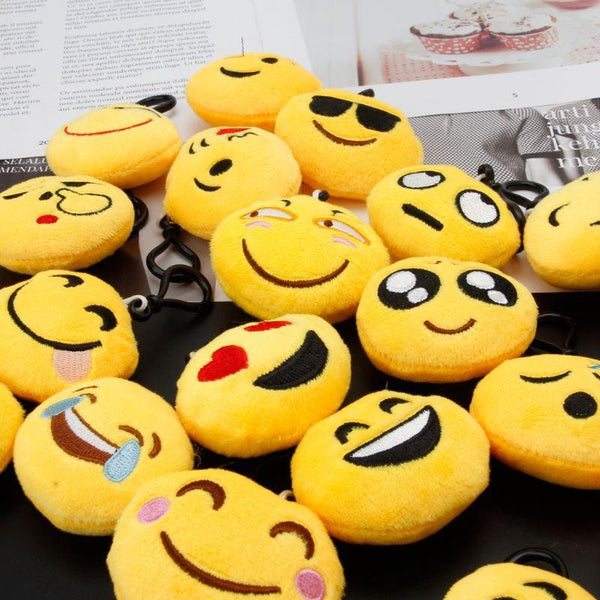 2 X Random Emoji Plush Key Chains Toys