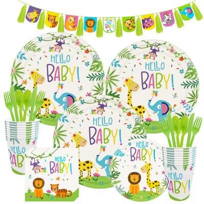 Wildlife Theme Birthday Party Tableware Package (#Type C)