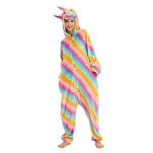 Onesie World Unisex Animal Pyjamas - Golden Rainbow Unicorn Adult (Cosplay / Nightwear Halloween