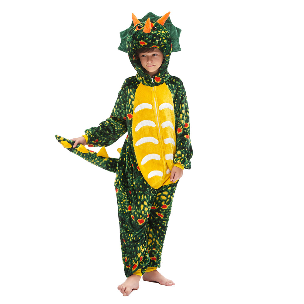 Onesie World Unisex Animal Pyjamas - Green Triceratops Dinosaur Kids Onesie (Cosplay / Nightwear / Halloween / Carnival / Novelty Costume)