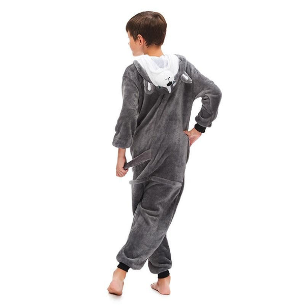 Onesie World Unisex Animal Pyjamas - Grey Husky Dog Kids (Cosplay / Nightwear Halloween Carnival