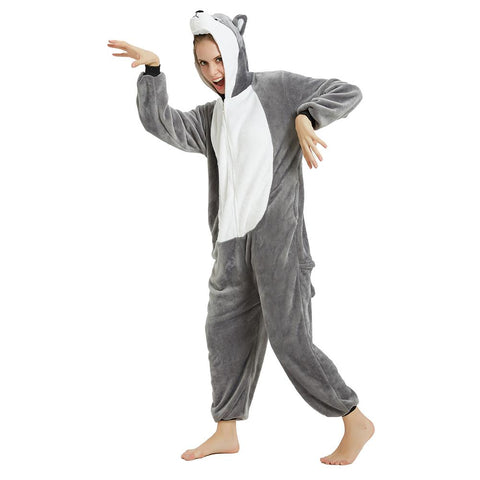 Onesie World Unisex Animal Pyjamas - Grey Husky Dog Adult (Cosplay / Nightwear Halloween Carnival