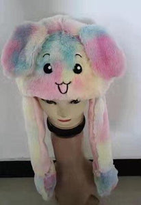 Cute Movable / Jumping Dancing - Ear Pastel Rainbow Bunny Funny Hat With Led Light Animal Hats