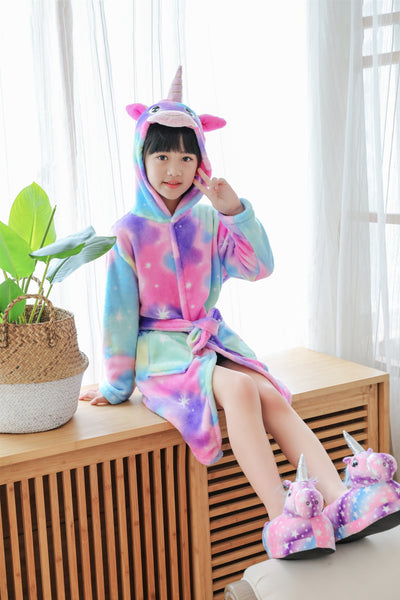 Onesie World  Dressing Gown -Pastel Rainbow Unicorn Kids Bathrobe