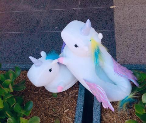 Winged Unicorn Slippers White - Size L Slippers